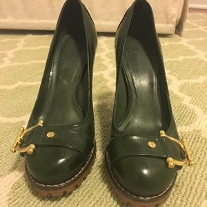 Tory Burch green patent heels